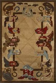 5x8 western texas star lodge cabin cowboy boots horse area rug