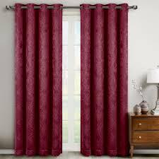 Maroon Curtains Bella Pair Set Of 2 Blackout Weave Embossed Grommet Window