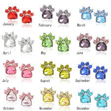 birthstone gift heart earrings pet paw animal dog birthstone earring print