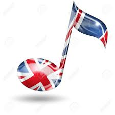 English Flag Musical Note With English Flag Colors On White Background Stock