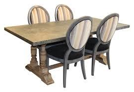 ojai dark zinc top turned trestle dining table u2013 mortise u0026 tenon