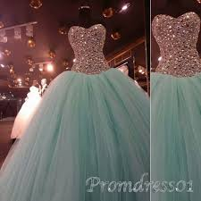 princess mint green tulle strapless long prom dress beaded puffy