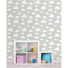 Peel Stick Wallpaper Nuwallpaper Grey Clouds Peel And Stick Wallpaper Nu1931 The Home