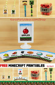 free minecraft party printables signs tags toppers drink