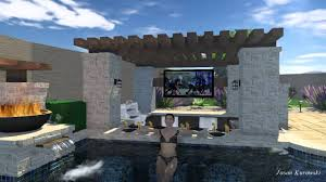 pool design w swim up bar ramada wok pots and landscape