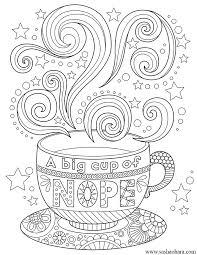 a big cup of nope coffee tea cup coloring page coffee tea