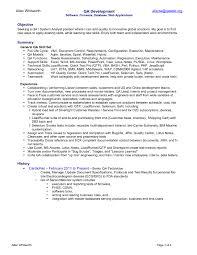 Monitor Tech Resume Resume Sample Quality Assurance Resume