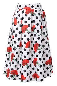 white background red flower black polka dot a line skirt