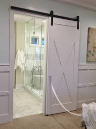 Interior Bathroom Door Awesome White Polished Single Wooden Sliding Bathroom Barn Doors