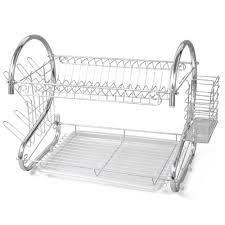 tray plates new 2 tier chrome plate dish cutlery cup drainer rack drip tray