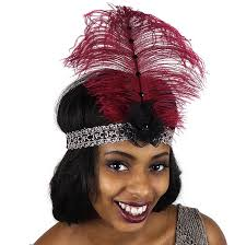 burgundy headband flapper headband burgundy grey black