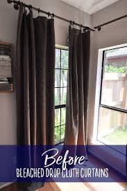 Diy Drop Cloth Curtains How To Make No Sew Bleached Drop Cloth Curtains Our Handcrafted Life