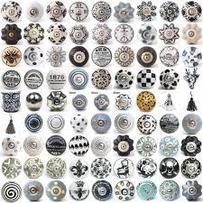 black white grey vintage ceramic knobs drawer pull cupboard door