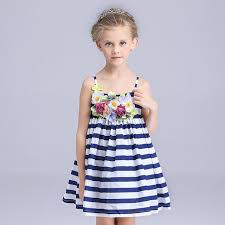 aliexpress com buy flower dresses blue striped sundresses