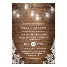 rustic wedding rustic wood jars string lights lace wedding card zazzle ca