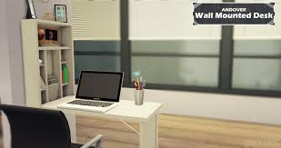 Wall Mounted Desk Andover Wall Mounted Desk Clutter Onyx Sims