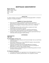 Mortgage Resume Cover Letter Underwriting Assistant Resume Insurance Underwriting