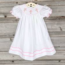 smocked pink cross vine dress white smocked auctions