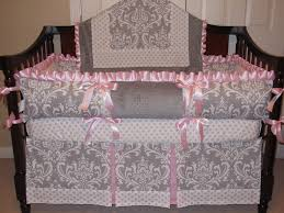 Pink And Brown Damask Crib Bedding Bedroom Pink And Gray Baby Bedding Baby Bedding Sets Pink