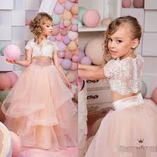 2016 two pieces ruffles flower girls dresses for weddings cheap