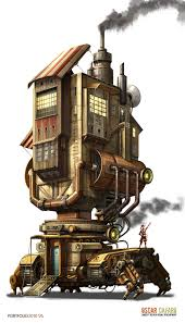 quadrupedal walking building also has treads probably a factory