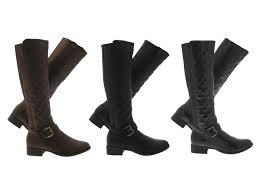 womens quilted boots uk womens quilted stretch wide calf boots knee high flat