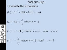 hw lesson 9 1 solving quadratic equations by finding square roots algebra i presentation transcript 1 hw warm up evaluate the expression