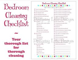 cleaning bedroom checklist bedroom cleaning checklist pdf printable household