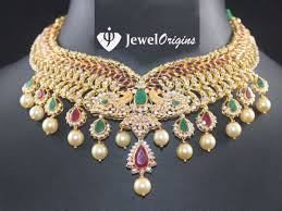 gold stones necklace designs images Cz stone studded peacock necklace jpg