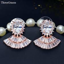 big stud earrings threegraces brand ear jewelry gold color oval fan