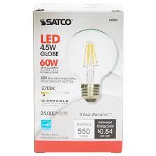 Led Light Bulbs 40 Watt Equivalent by Satco S9563 4 5 Watt 40 Watt Equivalent Clear Warm White Globe