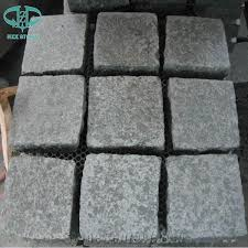 Granite Patio Pavers G684 Black Granite Cube Cobble Paving Sets Cobblestone