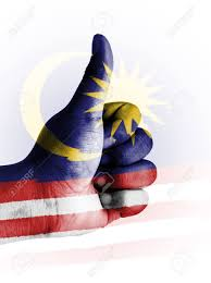 Maylasia Flag Thumbs Up Digitally Compositing On With Malaysia Flag Stock Photo