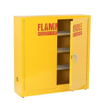 Yellow Flammable Storage Cabinet Sandusky 44 In H X 43 In W X 12 In D Flammable Liquid Safety