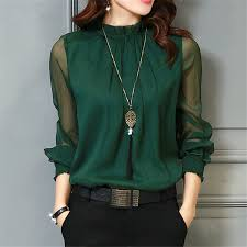 turquoise blouse chiffon blouse 2018 tops sleeve stand neck work