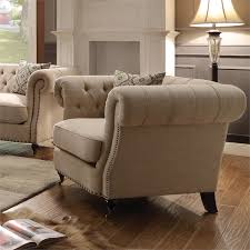 Tufted Accent Chair Coaster Trivellato Button Tufted Accent Chair In Oatmeal 505823