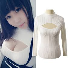 keyhole turtleneck online shop japanese open chest shirt women anime keyhole