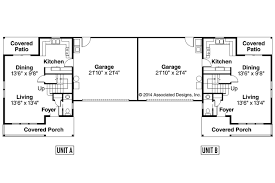 Duplex Floor Plan Craftsman House Plans Kentland 60 015 Associated Designs