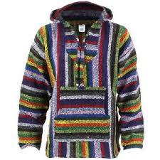 Mexican Rug Sweater Hoodie Mexican Baja Jerga Vibrant Multi Drug Rug Jumper Siesta