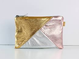 Rose Gold Silver Metallic Leather Bag Small Leather Clutch
