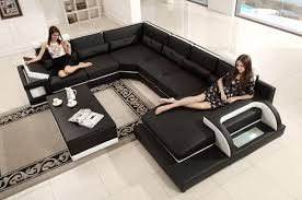 Black Leather Sectional Sofa Casa T703 Modern Black U0026 White Eco Leather Sectional Sofa