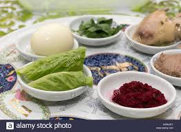 passover items traditional passover seder plate with six items which stock