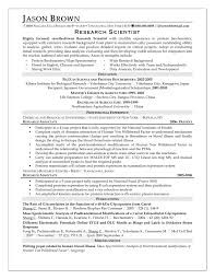 resume sle resume for science resume sle for research assistant