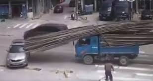 skoda rapid gets impaled by bamboo poles in china autoevolution