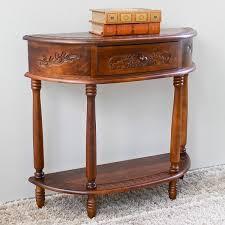 international caravan carved wood half moon hall table free