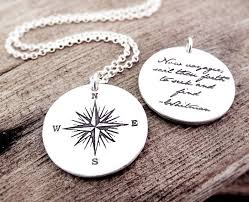 inspirational necklace voyager necklace compass and whitman quote inspirational