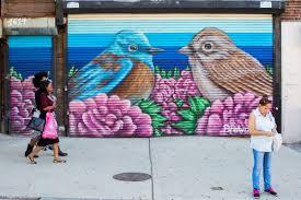 audubon mural project audubon western bluebird and rufous crowned sparrow by shawn bullen