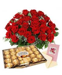 same day chocolate delivery a big bunch of 40 roses in a paper packing with 300gm