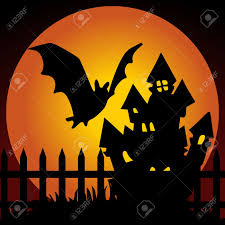 halloween scary haunted house halloween night haunted house with bat royalty free cliparts