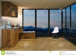 wooden kitchen furniture in modern interior evening view from b